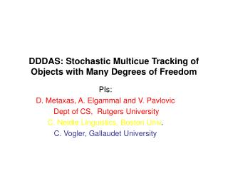 DDDAS: Stochastic Multicue Tracking of Objects with Many Degrees of Freedom