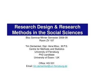 Research Design  Research Methods in the Social Sciences