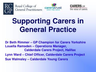 Supporting Carers in General Practice