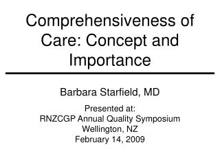 Comprehensiveness of Care: Concept and Importance