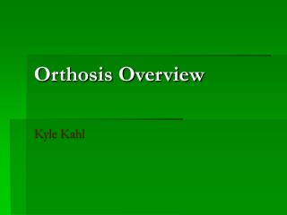 Orthosis Overview