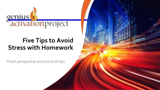 Five Tips to Avoid Stress with Homework