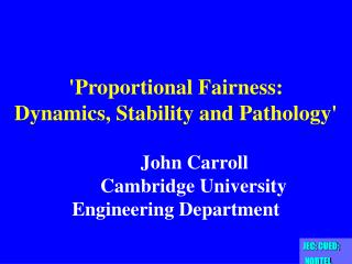 'Proportional Fairness:  Dynamics, Stability and Pathology'