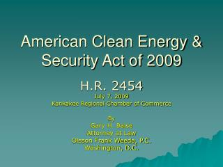 American Clean Energy  Security Act of 2009
