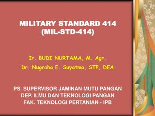 MILITARY STANDARD 414 (MIL-STD-414)