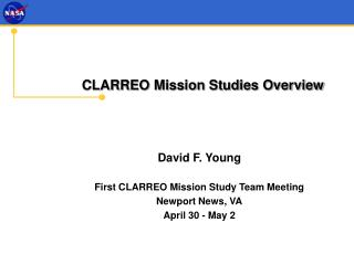 CLARREO Mission Studies Overview