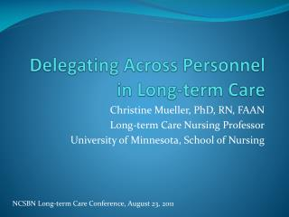 Delegating Across Personnel in Long-term Care