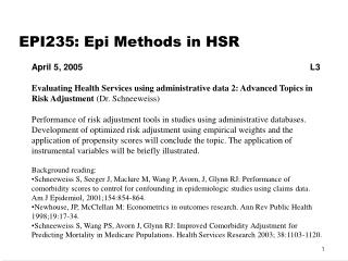 EPI235: Epi Methods in HSR