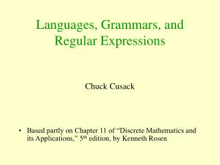 Languages, Grammars, and Regular Expressions