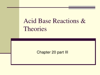 Acid Base Reactions & Theories