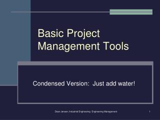 Basic Project Management Tools