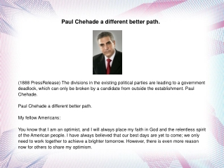 Paul Chehade a different better path.