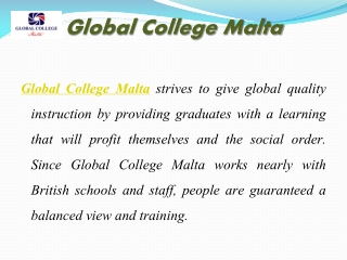 Global College Malta courses and Services