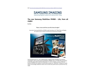 the new samsung multiview mv800 – life, from all angles
