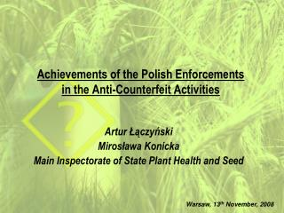 Achievements of the Polish Enforcements in the Anti-Counterfeit Activities