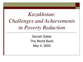 Kazakhstan: Challenges and Achievements in Poverty Reduction