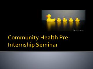 Community Health Pre-Internship Seminar