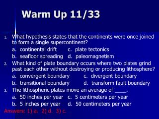 Warm Up 11/33