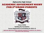 Alpharetta High School ACADEMIC ADVISEMENT NIGHT FOR 8th GRADE PARENTS