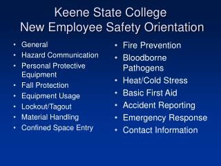 Keene State College  New Employee Safety Orientation