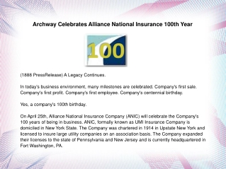 Archway Celebrates Alliance National Insurance 100th Year