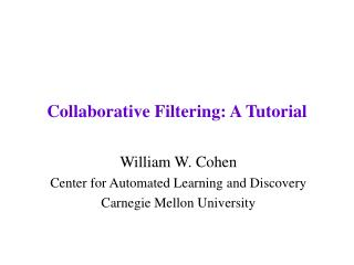 Collaborative Filtering: A Tutorial