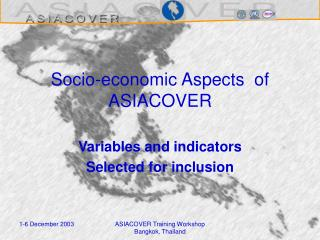 Socio-economic Aspects  of ASIACOVER