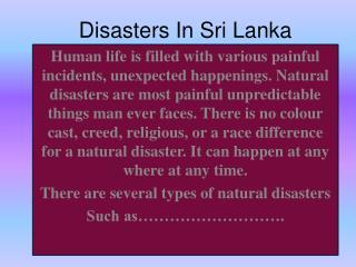 Disasters In Sri Lanka