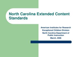 North Carolina Extended Content Standards
