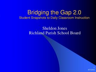Bridging the Gap 2.0 Student Snapshots to Daily Classroom Instruction