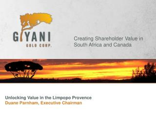 Unlocking Value in the Limpopo Provence Duane Parnham, Executive Chairman