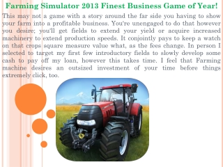 Farming Simulator 2013 Finest Business Game of Year!