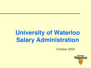 University of Waterloo Salary Administration
