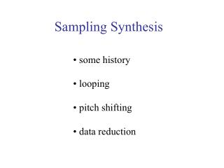 Sampling Synthesis
