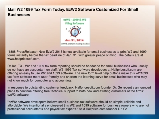 Mail W2 1099 Tax Form Today. EzW2 Software Customized