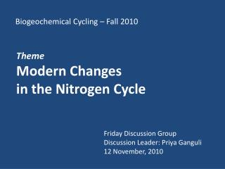 Biogeochemical Cycling – Fall 2010