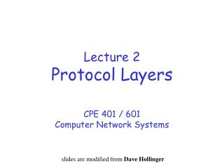 Lecture 2 Protocol Layers