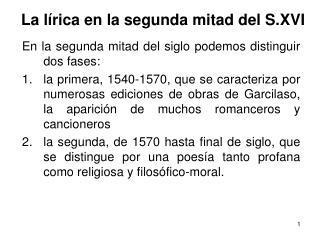 La lírica en la segunda mitad del S.XVI