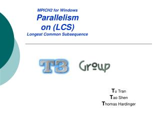 MPICH2 for Windows Parallelism on (LCS) Longest Common Subsequence
