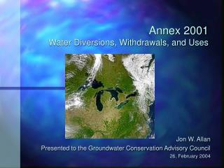 Annex 2001 Water Diversions, Withdrawals, and Uses