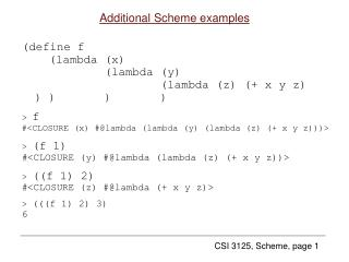 Additional Scheme examples