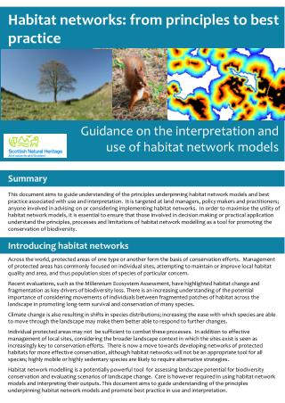 Habitat networks: from principles to best practice