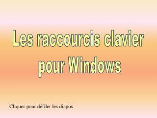Les raccourcis clavier pour Windows