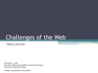 Challenges of the Web