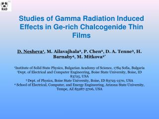 Studies of Gamma Radiation Induced Effects in  Ge -rich  Chalcogenide  Thin Films