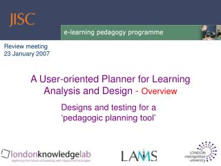 Designs and testing for a 'pedagogic planning tool'
