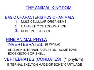 THE ANIMAL KINGDOM  BASIC CHARACTERISTICS OF ANIMALS:            1. 						            2. 						            3.  					 N I