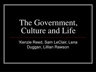 The Government, Culture and Life