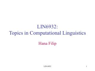 LIN6932:  Topics in Computational Linguistics
