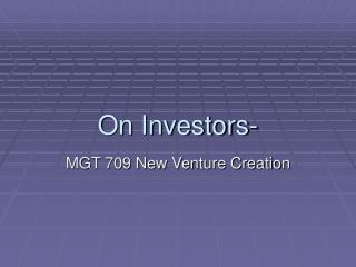 On Investors-